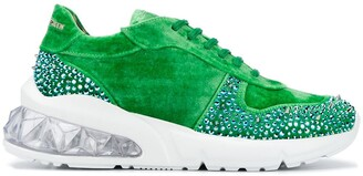 Philipp Plein Velvet Studded Runner Sneakers