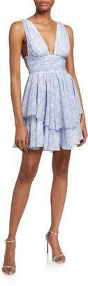Caroline Constas Paros Plunging Tiered Mini Dress