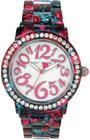 betsey johnson womens red floral printed black bracelet watch 40mm bj0048210