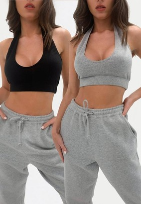 Missguided Gray And Black Rib Micro Halter Bralet 2 Pack