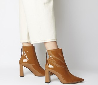Office Alpha Pointed Back Zip Boots Toffee Patent Leather