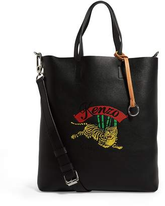 Kenzo Leather Jumping Tiger Tote Bag
