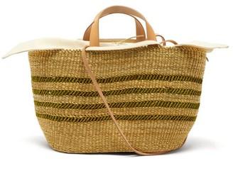 Muun Bicro P Leather-trimmed Woven Elephant Grass Bag - Green Multi
