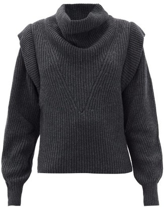 Isabel Marant Poppy Exaggerated-shoulder Wool & Cashmere Sweater - Grey