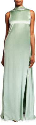 Brandon Maxwell Sleeveless Satin Gown