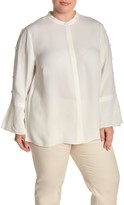 Lafayette 148 New York Nicolette Silk Button Trim Blouse (Plus Size)