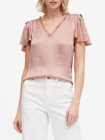 Banana Republic Soft Satin Flutter-Sleeve Top