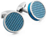 Tateossian Blue Carbon Fiber Round Cuff Links