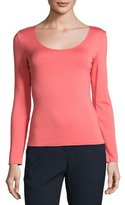 Armani Collezioni Long-Sleeve Scoop-Neck Tee, Matisse Red