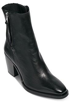 AllSaints Women's Cohen Square Toe Double Zipper High Heel Leather Booties