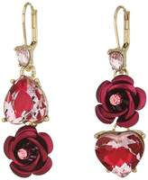 Betsey Johnson Pink and Gold Non-Matching Heart Earrings Earring