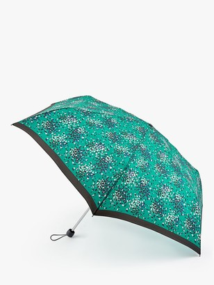 Fulton Cluster Hearts Print Telescope Umbrella, Emerald/Multi