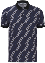 MSGM Men's Print Top Polo Shirt Blue