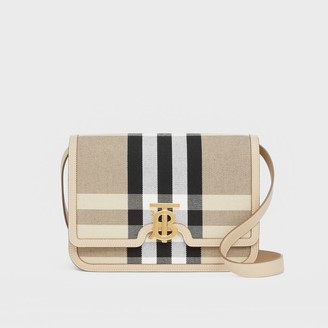 Burberry Medium Check Canvas and Leather TB Bag