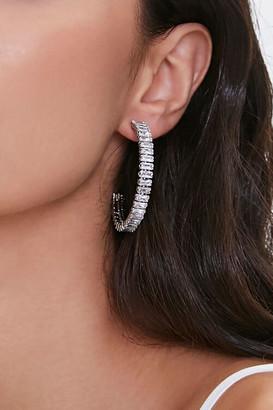 Forever 21 Faux Gem Hoop Earrings