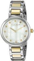 Akribos XXIV Women's AK877TTG Round White Mother of Pearl Dial Two Hand Quartz Two Tone Bracelet Watch