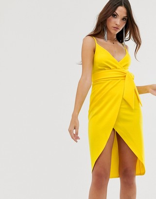 Asos Design DESIGN strappy cami wrap midi dress with sash detail-Yellow