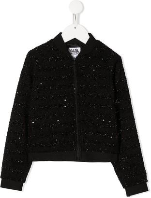Karl Lagerfeld Paris Sequinned Rear Logo Jacket