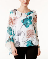 Alfani Floral-Print Angel-Sleeve Top, Only at Macy's