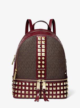 MICHAEL Michael Kors MK Rhea Medium Logo and Leather Backpack - Vanilla - Michael Kors