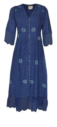 The Loom Art Blue Marine Button Down Dress