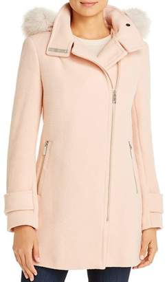 Calvin Klein Faux Fur Trim Wool-Blend Coat