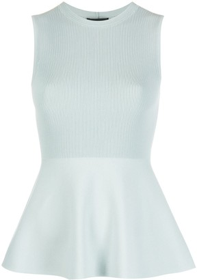 Theory Ribbed-Shell Peplum Top