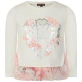 Roberto Cavalli Roberto CavalliGirls Ivory & Pink Paysage Rose Top