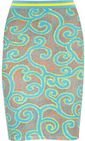 Sibling Printed Stretch Cotton-blend Skirt - Turquoise