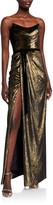 Marchesa Strapless Foiled Velvet Column Gown