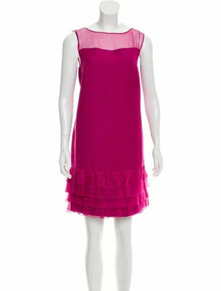 Giambattista Valli Linen Tweed Dress Magenta