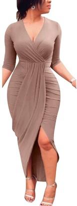 Gikim Women's Sexy Long Sleeve Deep V-Neck Ruched Midi Bodycon Wrap Dress Wine Red L