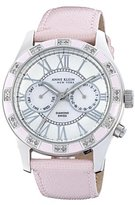 Anne Klein Women's 122019PMPK Genuine Diamond Silver-Tone Pink Enamel Multi-Function Strap Watch