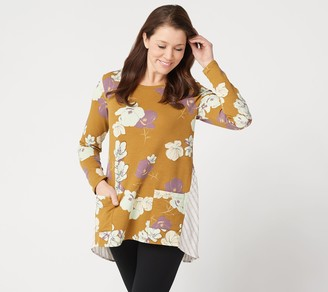 LOGO Lounge by Lori Goldstein French Terry Top with Woven Back