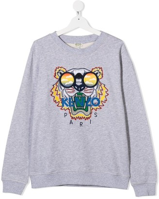 Kenzo Kids Sweatshirt With Tiger Embroidery And Logo