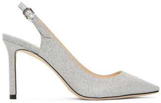 Jimmy Choo Silver Fine Glitter Erin 85 Slingback Heels