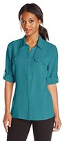 Notations Women's Solid Long-Sleeve Rolled Blouse