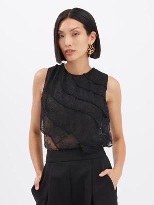 Oscar de la Renta Embroidered Lace Blouse