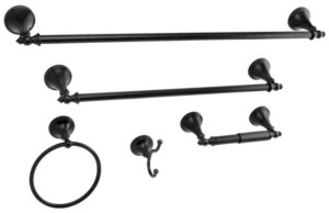 Kingston Brass Naples 18-Inch and 24-Inch Towel Bar Bathroom Accessory Set in Black Bedding