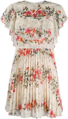 RED Valentino Floral Pattern Pleated Dress