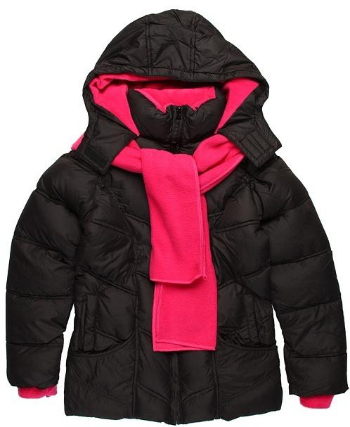 U.S. Polo Assn. Kids - Dewspo Bubble w/ Fleece Scarf and Lining (Big Kids) (Black) - Apparel