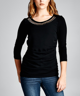 Tua Black Stone-Appliqué Three-Quarter Sleeve Top