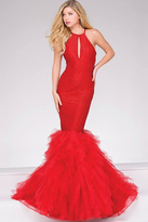 Jovani Trumpet Embellished High Neck Prom Dress 37473