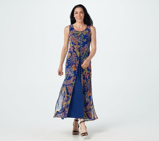 Women With Control Attitudes by Renee Petite Como Jersey & Printed Mesh Maxi Dress
