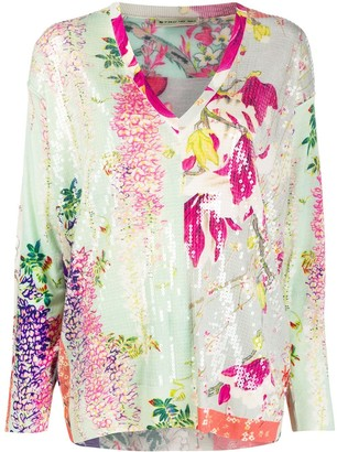 Etro Floral Sequin Tunic Top