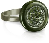 Azhar Olive Green Cubic Zirconia and Sterling Silver Ring