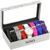 XOXO Women's XO9043 Seven Color Silicone Rubber Interchangeable Strap Set Watch