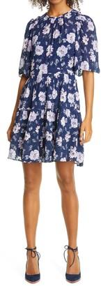 Rebecca Taylor Peony Bloom Fit & Flare Dress