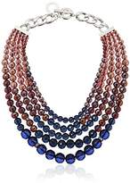 """Anne Klein Silver-Tone Blue and Purple Beaded Torsade Necklace, 14"""""""