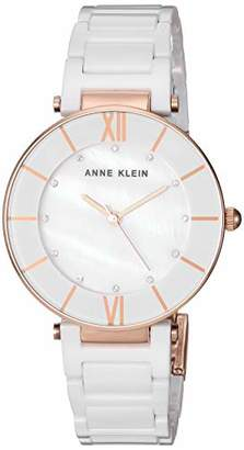 Anne Klein Women's AK/3266WTRG Swarovski Crystal Accented Rose Gold-Tone and White Ceramic Bracelet Watch